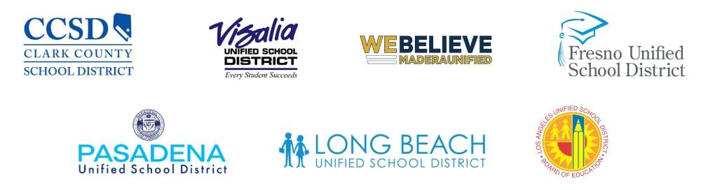 IMAGO's School district partners - Clark County School District, Visalia Unified School District, Madera Unified, Fresno Unified School District, Pasadena Unified School District, and Long Beach Unified School District